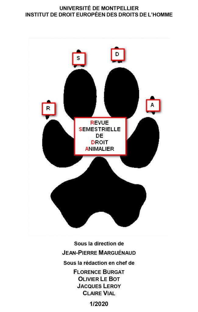 couverture Revue semestriel de Droit Animalier n°1/2020